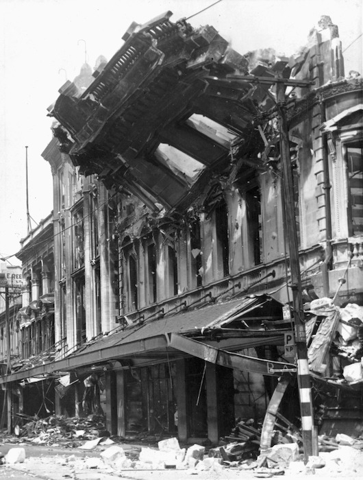 Weigel, William George, 1890-1980: Wall of Ballantyne's department store being demolished after the 1947 fire