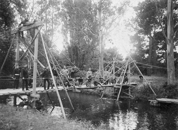 Volunteer military engineers building a bridge, Hagley Park, Christchurch