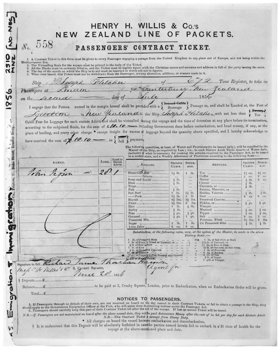 Ticket for John Jesson's passage on board the ship Joseph Fletcher, from London, England, to Canterbury, New Zealand