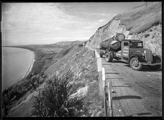 Timber truck on Hill Road, Paekakariki, Wellington