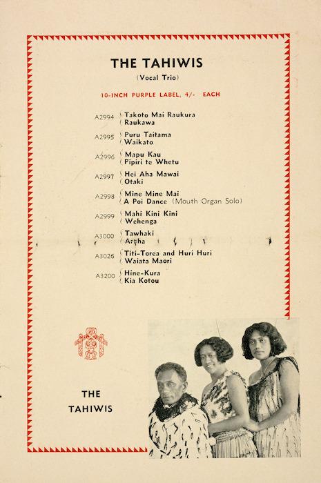 Columbia Graphophone (Australia) Ltd :The Tahiwis. [ca 1930].