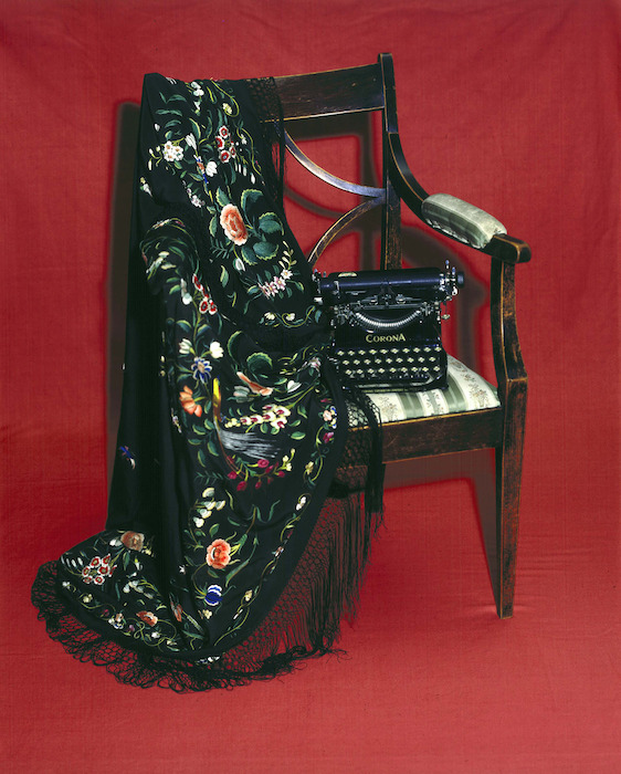 Katherine Mansfield's chair, shawl and typewriter. [ca 1890, ca 1900 and ca 1920]