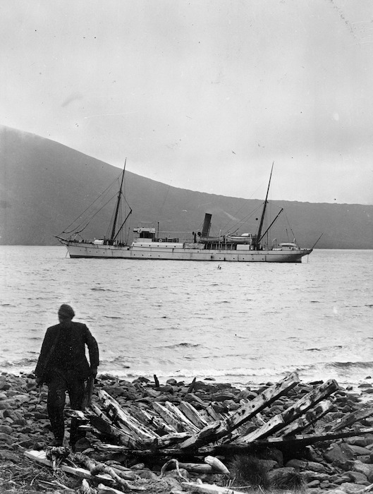Ship Hinemoa, and remains of the Grafton shipwreck, at Carnley Harbour, Auckland Islands - Photograph taken by Samuel Page
