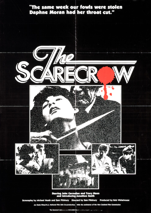 """[Oasis Films and New Zealand National Film Unit] :The scarecrow. """"The same week our fowls were stolen, Daphne Moran had her throat cut"""". Starring John Carradine and Tracy Mann, and introducing Jonathan Smith. [1982]."""