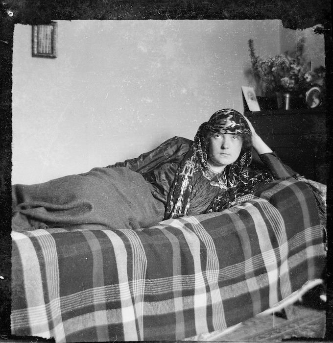 Katherine Mansfield wearing an Arabian shawl, Rottingdean, Sussex, England