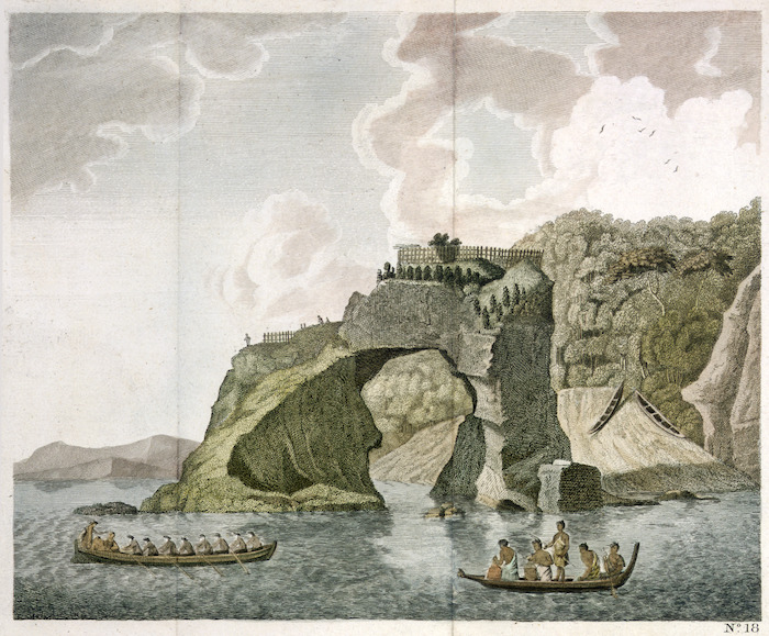 Sporing, Herman Diedrich 1733-1771 :A fortified town or village, called a hippah, built on a perforated rock at Tolaga in New Zealand. [London, Strahan, 1773]