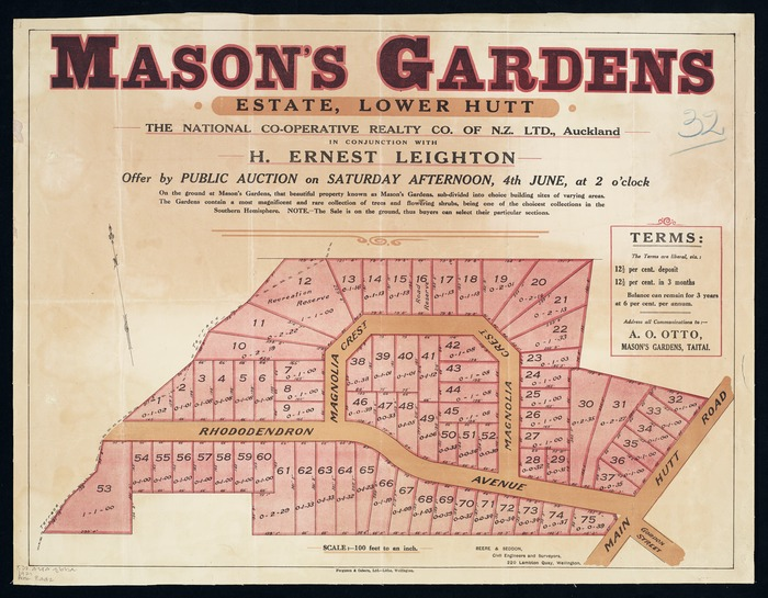 Mason's Gardens estate, Lower Hutt / [surveyed by] Beere & Seddon.