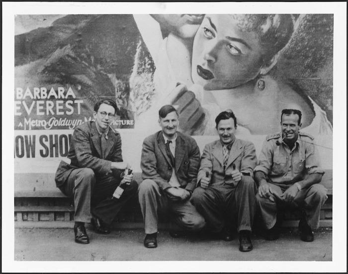 Allen Curnow, Denis Glover, Bob Lowry, and unidentified friend.