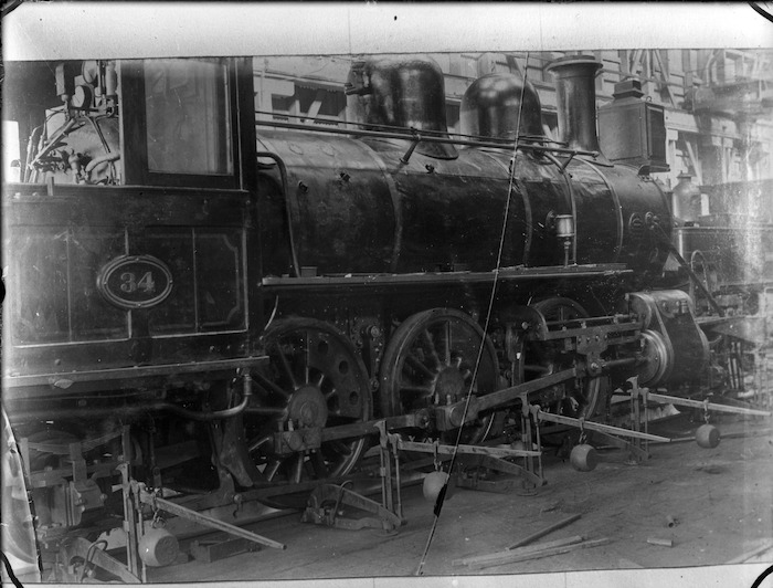 N class steam locomotive, NZR 34, 2-6-2 type, being weighed at the Petone Railway Workshops.