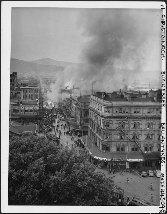 View, from a distance, of the Ballantyne's department store fire, Christchurch