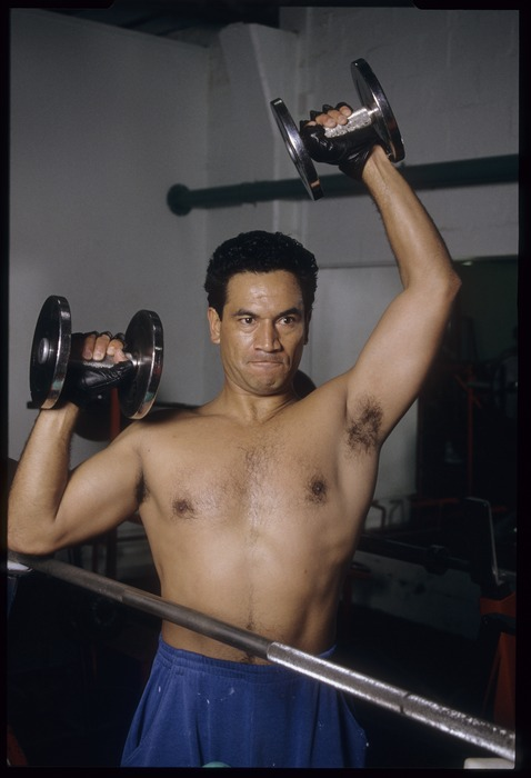 Temuera Morrison working out in preparation for his role as Jake Heke in Once were warriors