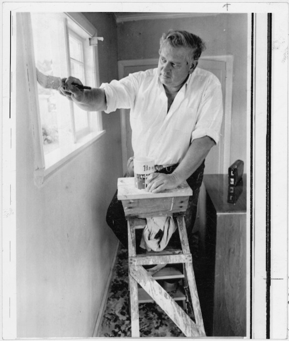 Norman Kirk, Leader of the Opposition, redecorating his home in Cashmere, Wellington