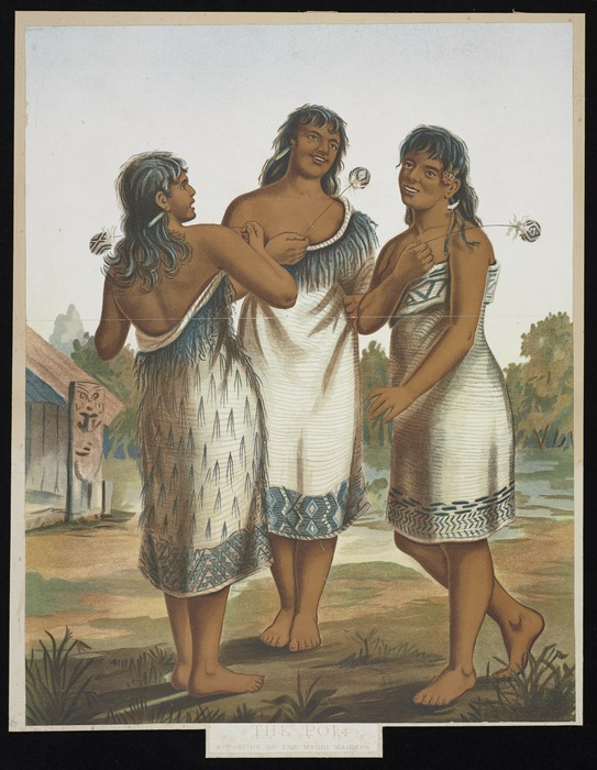 Artist unknown :The poi. A pastime of the Maori maidens. [ca 1885]