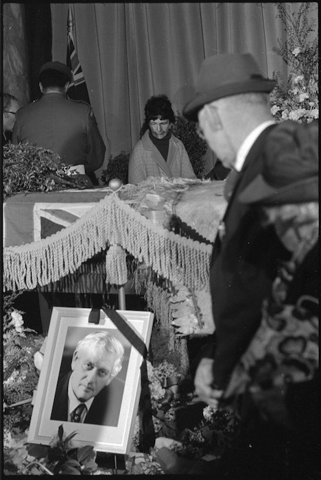 Alongside the coffin of the late Prime Minister Norman Kirk at Parliament House, Wellington