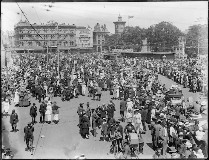 Crowd in Cathedral Square, Christchurch, celebrating Armistice Day