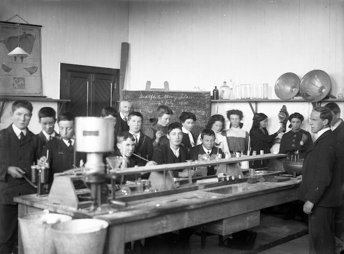 School children and teachers in the laboratory, Stratford Technical School