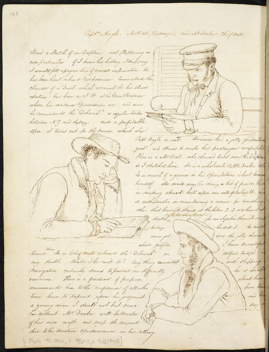 Diary page including three portrait sketches