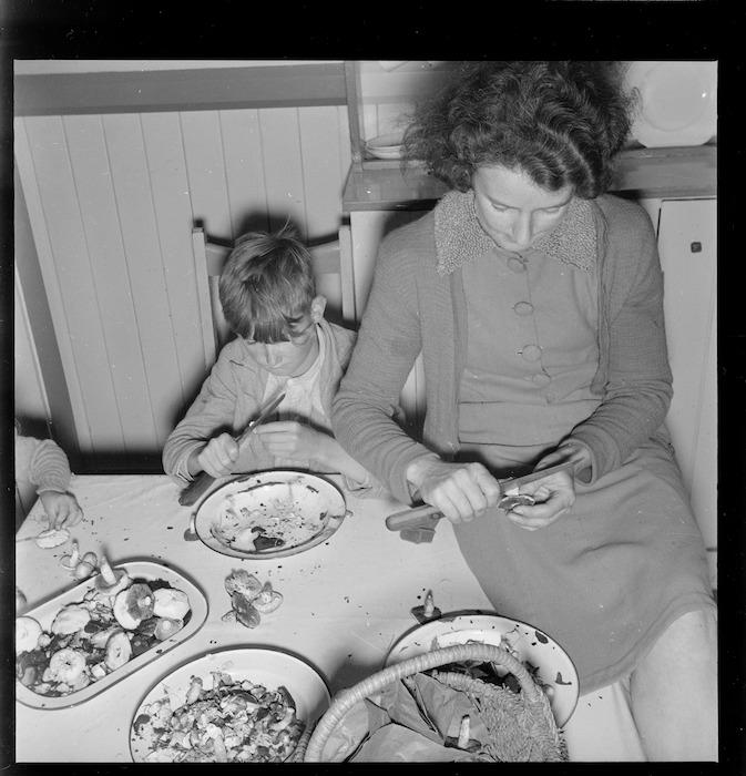 Grace Porter, and her son Bobby preparing mushrooms at Manuka Point Station, Canterbury