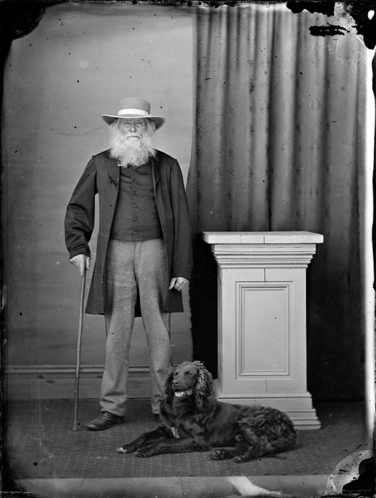 Unidentified man with dog
