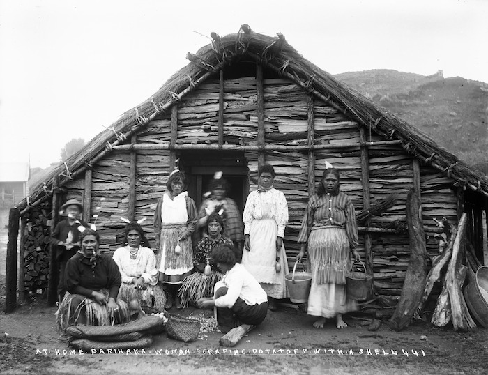 Group outside a cookhouse in Parihaka