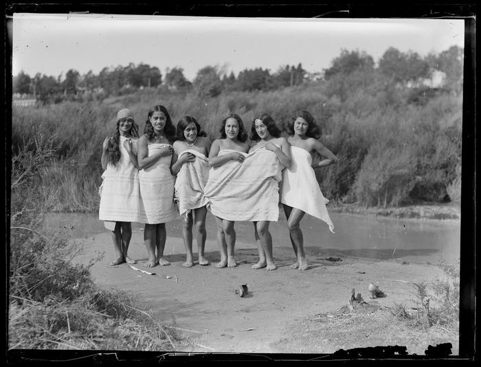 A group of Maori women bathing at the river, Waikato
