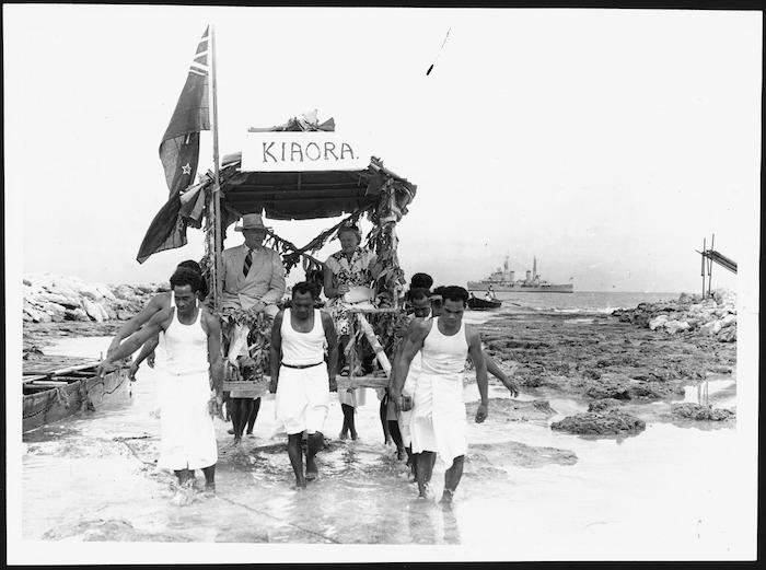 Lord and Lady Cobham arriving at Atafu Island, Tokelau