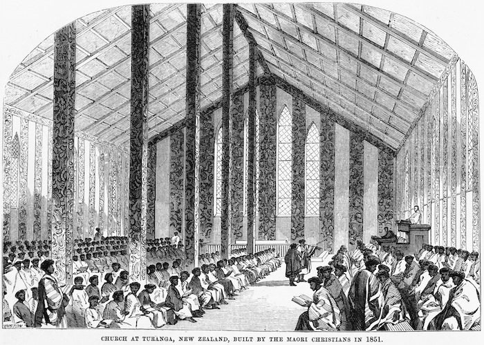 Church Missionary Gleaner :Church at Turanga, New Zealand, built by the Maori Christians in 1851. 1884