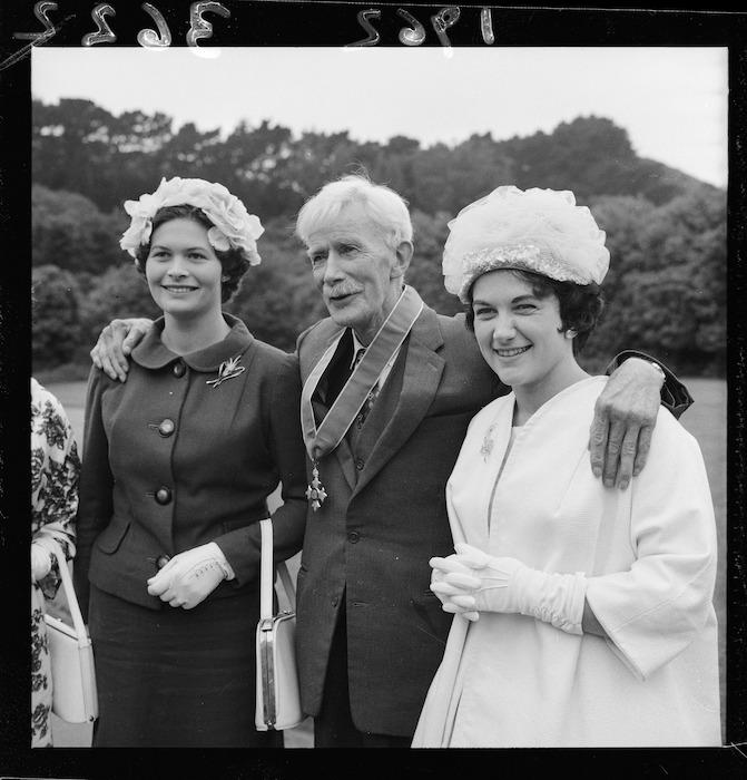 Mr A H Reed with Mrs J M Reed and Miss H Reed, Government House, Wellington