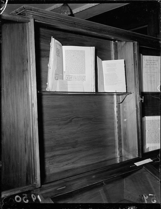 Illuminated manuscript books on display at the Alexander Turnbull Library, Wellington