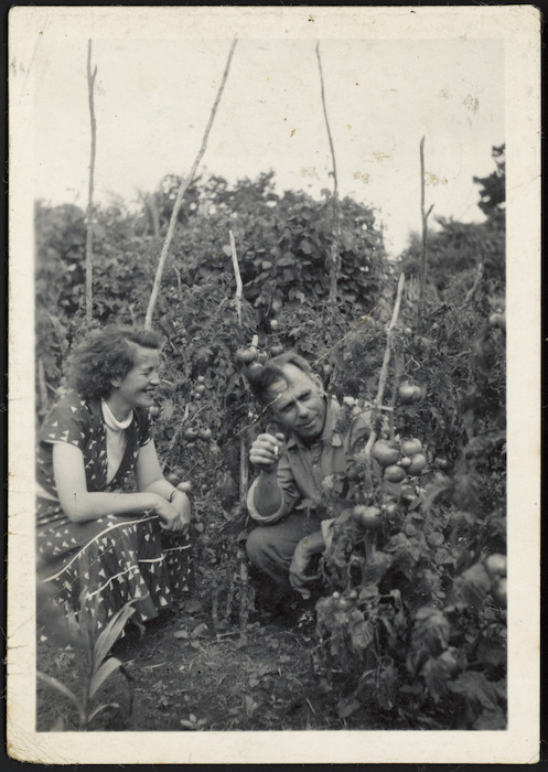 Frank Sargeson in the garden of his Takapuna home, Auckland, with Christine Cole