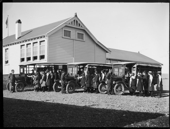 Department of Education buses at Piopio School, Waitomo district