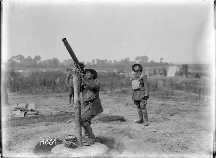 Soldiers on the anti-aircraft guard of the New Zealand Pioneer Maori Battalion camp, Bayencourt, France