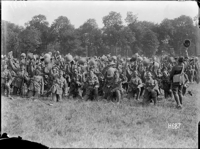 The Pioneer Battalion cheering Massey and Ward on their departure, Bois-de-Warnimont, France