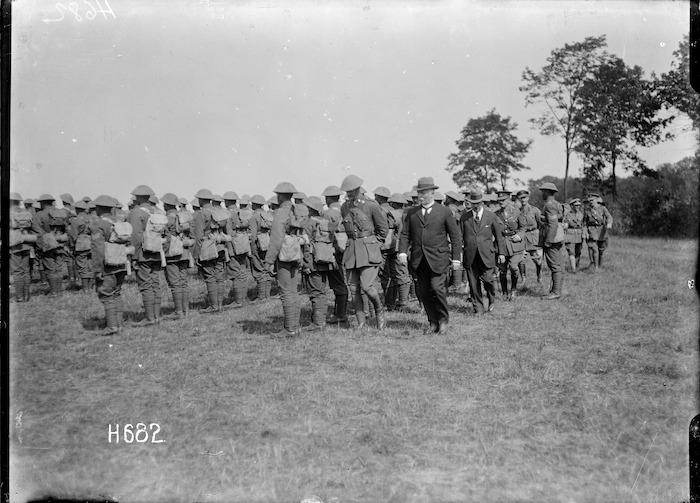 Prime Minister Massey and Deputy PM Ward inspect the Pioneer Battalion, Bois-de-Warnimont, France