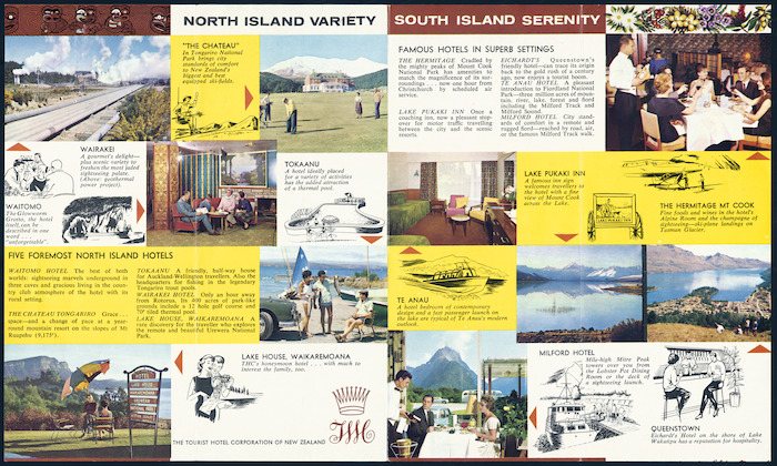 Tourist Hotel Corporation of New Zealand :Introducing New Zealand's finest holiday hosts, THC. [Pamphlet inside. ca 1965]