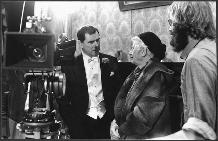 George Baker and Ngaio Marsh on the set of Ngaio Marsh's Vintage Murder