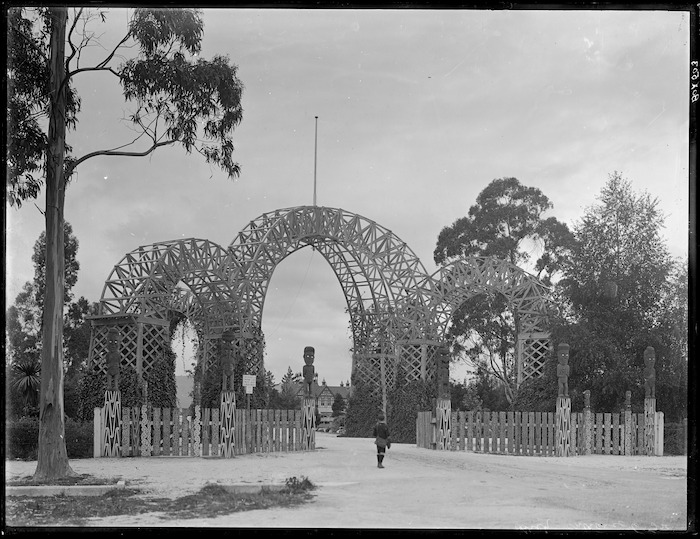 Princes Gate at the entrance to the grounds of the Government Sanatorium and Baths, Rotorua