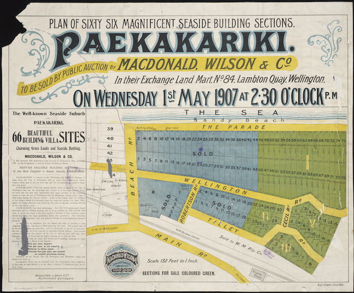 Plan of sixty six magnificent seaside building sections, Paekakariki [cartographic material] / Middleton & Smith, authorised surveyors.