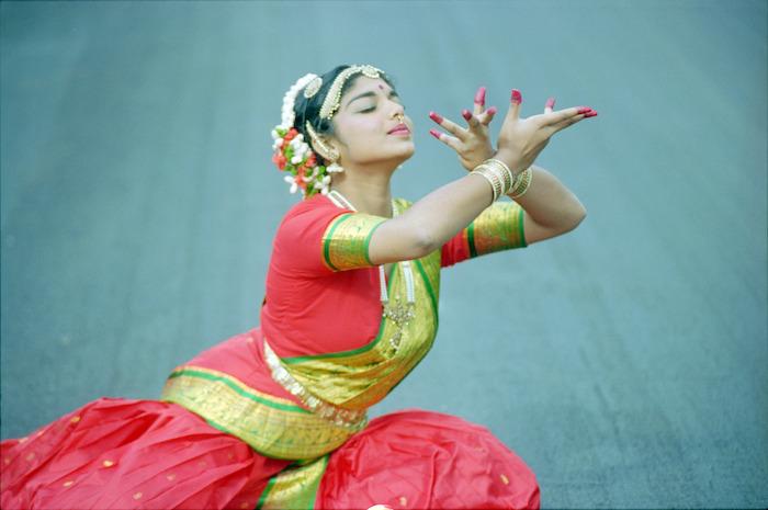 Narmadai Chinniah performing an Indian classical dance - Photograph taken by Melanie Burford