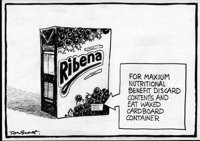 Ribena. For maximum nutritional benefit, discard contents and eat waxed cardboard container. 30 March, 2007