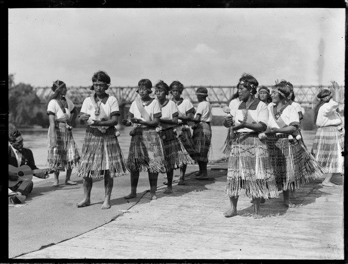 Maori women performing a poi action song, Waikato