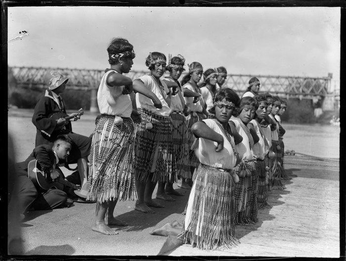 Maori wahine performing an action song, Waikato