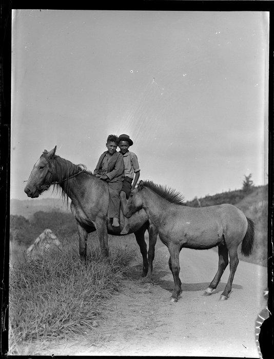George Rihia and Phillip Ham of Tokaanu on horseback