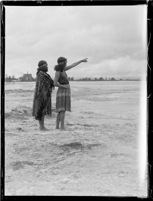 Two Maori women observing the land, Waikato