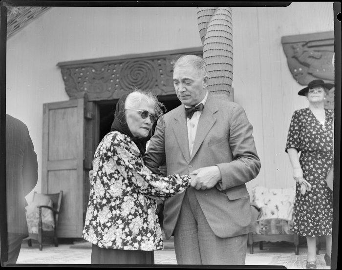 Sir Peter Buck with Princess Te Puea at his welcoming ceremony, Ngaruawahia, Waikato