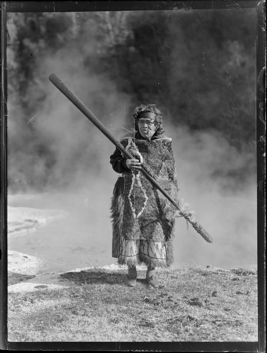 Portrait of Māori kuia Marutuna Mohi near thermal pools, Orakei Korako