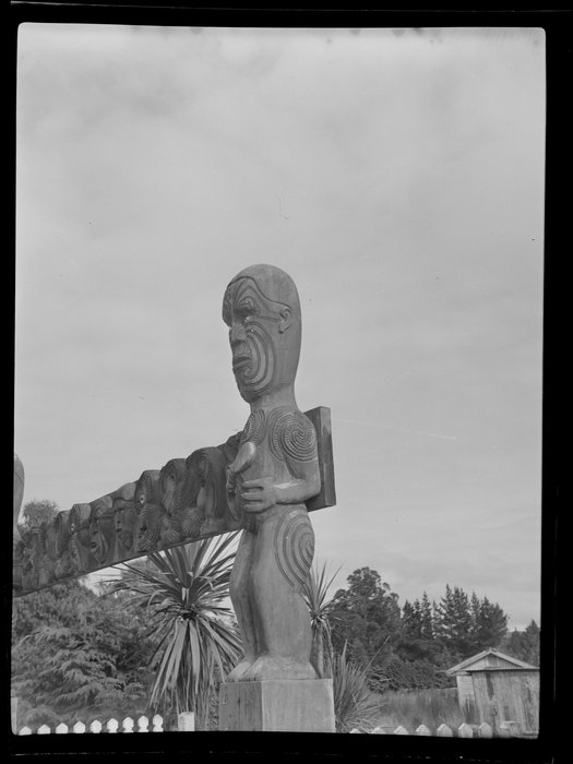 Maori carving at an unknown meeting house, Taupo