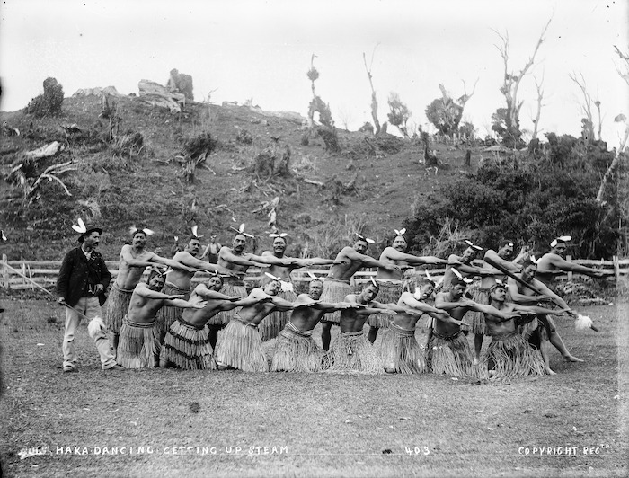 Taare Waitara and haka party, Parihaka, 1890s