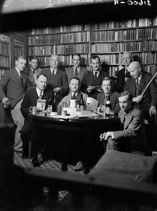Group of Wellington writers in the study of Pat Lawlor's home