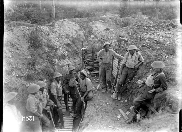 Members of the World War I Maori Pioneer Battalion taking a break from trench improvement work, near Gommecourt, France